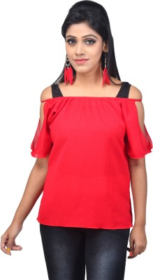 Ssmitn Casual Sleeveless Solid Women Red Top at flipkart