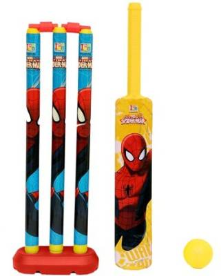 Marvel Spiderman Cricket Set with Plastic Ball-Sr. size-Plastic Cricket