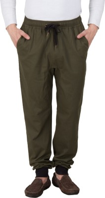 Hypernation Solid Men's Dark Green Track Pants at flipkart