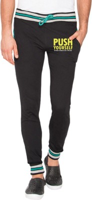 Campus Sutra Printed Men Black Track Pants at flipkart
