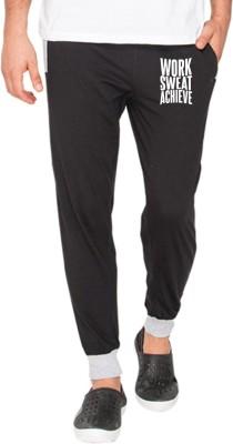 Campus Sutra Printed Men Black Track Pants at flipkart