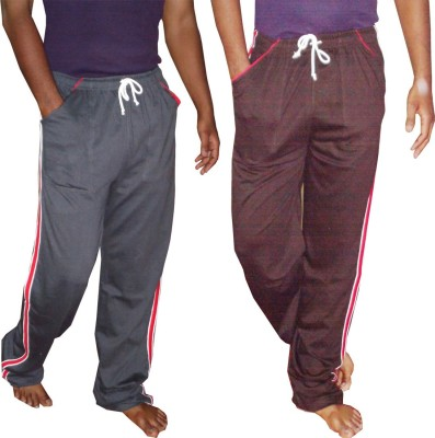 WellFitLook Varsity Men Grey Track Pants at flipkart