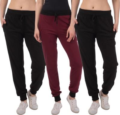 Meebaw Solid Women Black, Black, Maroon Track Pants