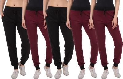 Sakhi Sang Solid Women Maroon, Black Track Pants