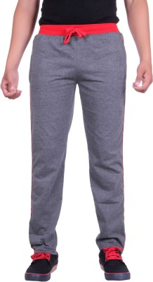 DFH Solid Men Grey, Red Track Pants at flipkart