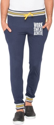 Campus Sutra Printed Men Blue Track Pants at flipkart