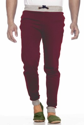 Demokrazy Solid Men's Maroon Track Pants at flipkart