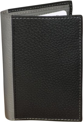 Kan Black and Grey Genuine Leather Travel Organizer/Document Holder For Men with 12 Card Slots Multicolor Kan Wallets