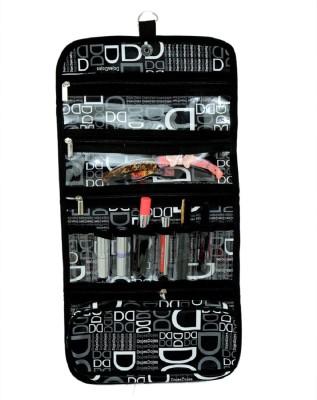Kuber Industries Black 'D' Print Long Folding Hanging Cosmetic Makeup Travel Organizer kit with Zip   KI3303 Travel Toiletry Kit