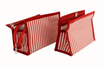 K P Zebra Stripe Large Pack of 2 Travel Toiletry Kit Red