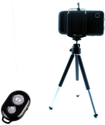 Smiledrive Universal Mobile Tripod with Bluetooth Shutter Clicker - Fits all Mobiles Monopod(Black, Supports Up to 300 g) 1