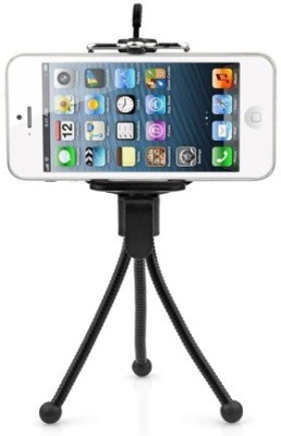 De TechInn Adjustable Mini Mobile Phone Camera Stand Clip Bracket Holder And Tripod Black, Supports Up to 500 g