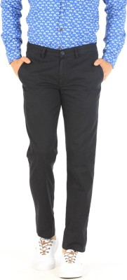 Basics Slim Fit Men Black Trousers at flipkart