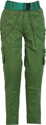 Awack Slim Fit Boys Green Trousers
