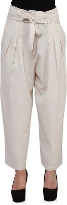 Oxolloxo Regular Fit Women White Trousers at flipkart