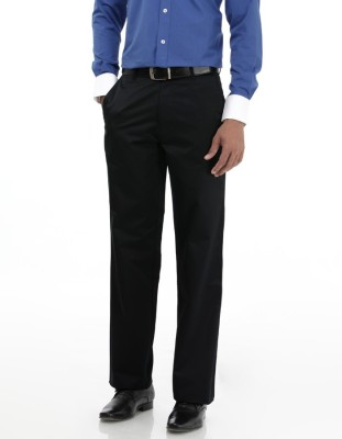 Basics Regular Fit Men Dark Blue Trousers at flipkart
