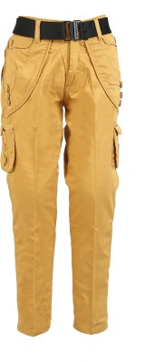 Awack Slim Fit Boys Gold Trousers