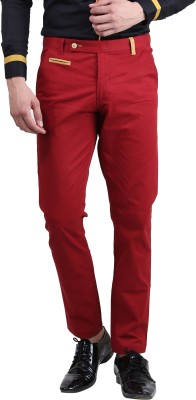 Skoosh Slim Fit Men's Red Trousers
