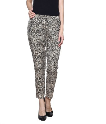 Trendsnu Regular Fit Women Black, Beige Trousers