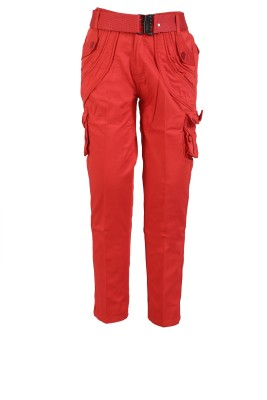 Awack Slim Fit Boys Red Trousers