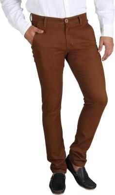 Platinum Studio Slim Fit Men's Brown Trousers at flipkart