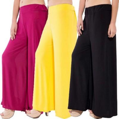 Meandfashion Regular Fit Women Maroon, Black, Yellow Trousers