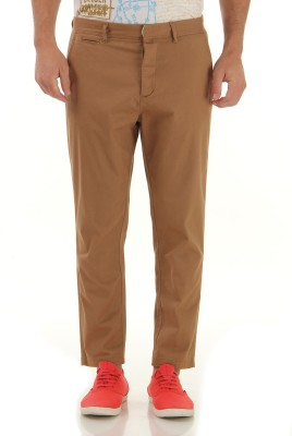 Jack & Jones Slim Fit Men Brown Trousers at flipkart