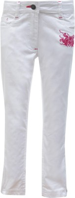 UFO Skinny Fit Girls White Trousers at flipkart