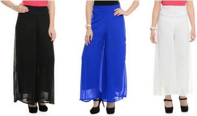 Emblazon Regular Fit Women Black, Blue, White Trousers