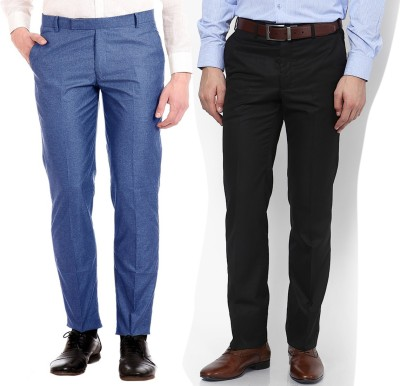 AD & AV Regular Fit Men's Blue, Black Trousers