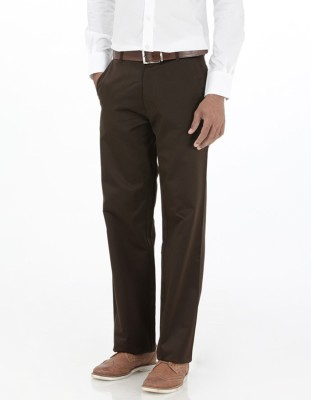 Basics Regular Fit Men Brown Trousers at flipkart