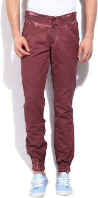 John Players Slim Fit Men's Maroon Trousers