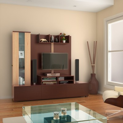 HomeTown Hugo Engineered Wood TV Entertainment Unit(Finish Color - Walnut & Teak)