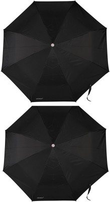 Bizarro Plain Combo-3-Fold Heavy Quality (Set of 2) Umbrella(Black)
