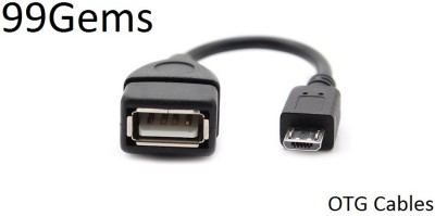 99 Gems OTG cable Micro USB Cable Compatible with tablets, mobile, Black
