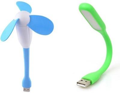 Roboster Roboster Portable   Flexible USB Fan + LED Light Lamp For Laptop/ Desktop/ Powerbank Pink:Blue:Green:Yellow  B01DDVOQSE  Combo Green Led Ligh
