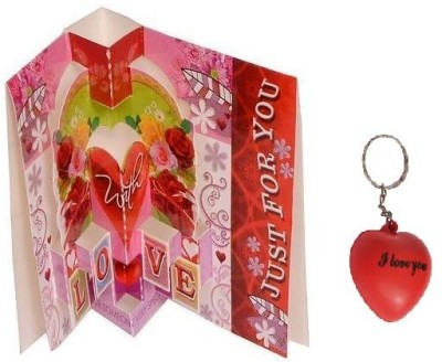 Indigo Creatives Valentine Pop Up Card Heart Keychain Gift Set  available at flipkart for Rs.197