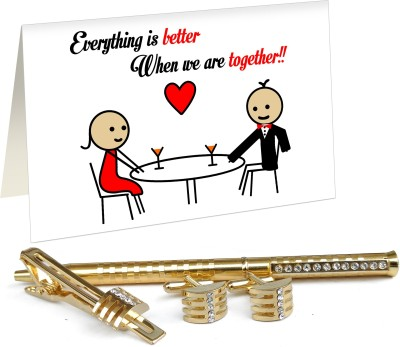7e125ead2e62f Tiedribbons Valentine Day Special Gifts for Bf Golden Cufflinks