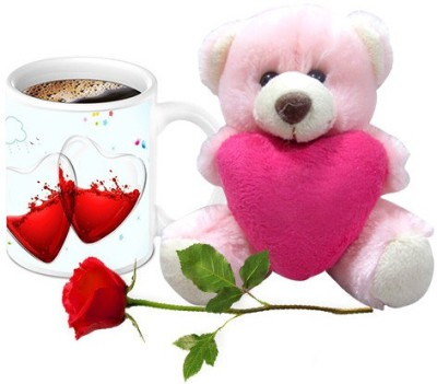HomeSoGood Two Half Filled With Not Feeling Good Coffee Mug With Teddy & Red Rose Valentine Gift Set Mug Gift Set  available at flipkart for Rs.899