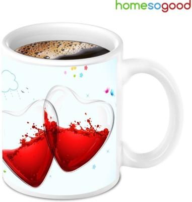 Homesogood Two Half Filled With Not Feeling Good Ceramic Mug(280 ml)  available at flipkart for Rs.349