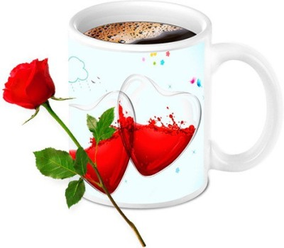 HomeSoGood Two Half Filled With Not Feeling Good Coffee Mug With Red Rose Valentine Gift Set Mug Gift Set  available at flipkart for Rs.599