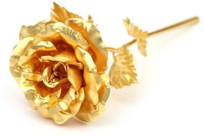 Swiss Rock Gold Rose Artificial Flower(10 inch, Pack of 1)