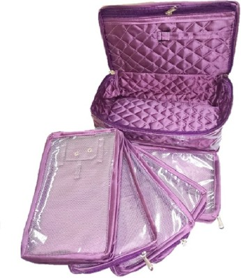Addyz Necklace 5 Slot Pouches Bag Jewellery Vanity Box(Purple) at flipkart