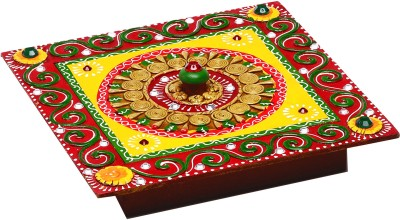 Aapno Rajasthan Multipurpose Handmade Wood And Clay Square Box Jewellery Vanity Box(Multicolor)