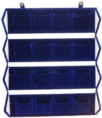 Atorakushon 16 pair Earrings Blue Velvet Folding jewellery Travelling Box Storage Case Vanity Box(Blue)  available at flipkart for Rs.483