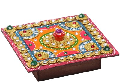 Aapno Rajasthan Square Hand Painted Decorative Wood And Clay Work Box Jewellery Vanity Box(Multicolor)