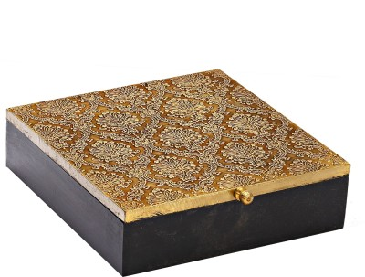 Aapno Rajasthan Square Shape With Golden Work Multiutility Vanity Box(Brown, Golden)