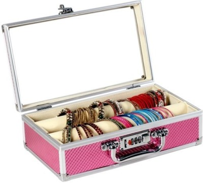 Ermani Export Pink Metal Double Rod Bangle Box With Numerical Safety Lock And Clear Top Makeup Vanity Box(Pink)