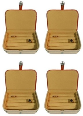 Abhinidi Pack of 4 Ring box earring case Travelling Pouch Box Vanity Box(Brown)