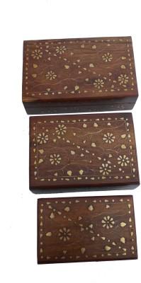 Handicraft Sheeesham Wood AND BRASS Made Jewellery set Jewellery Box Vanity Box(Brown, Gold)